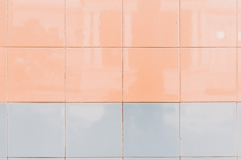 peach and blue wall tiles