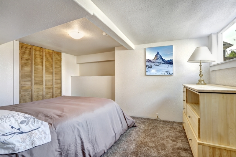bedroom with low ceiling